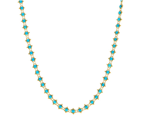 Long Turquoise Textile Necklace