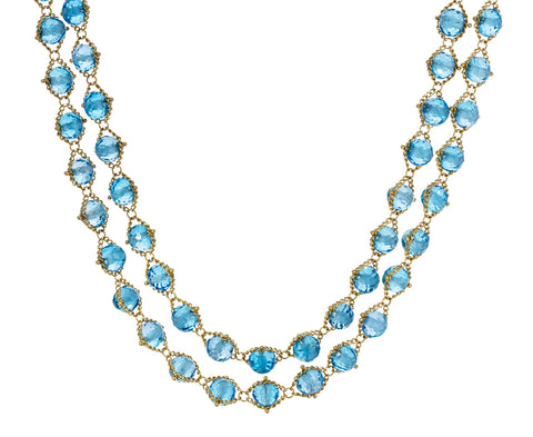 Long London Blue Topaz Textile Necklace