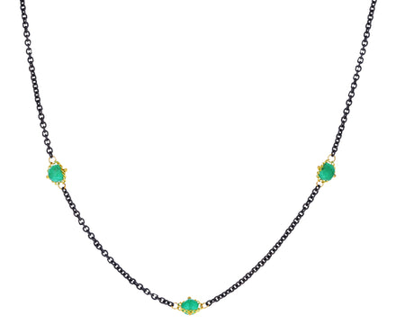 Emerald Textile Station Necklace