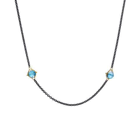 London Blue Topaz Textile Station Necklace