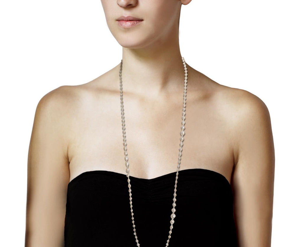 Long White Pearl Woven Necklace - TWISTonline