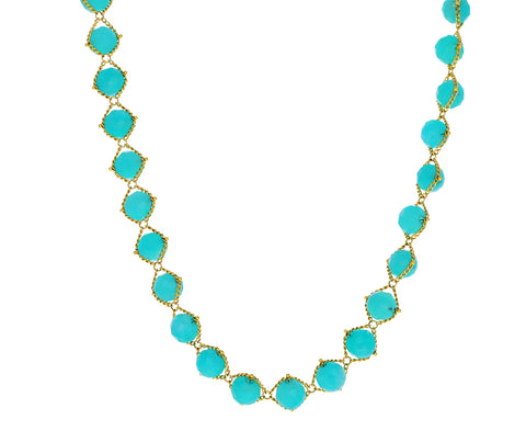Large Amazonite Beaded Textile Necklace