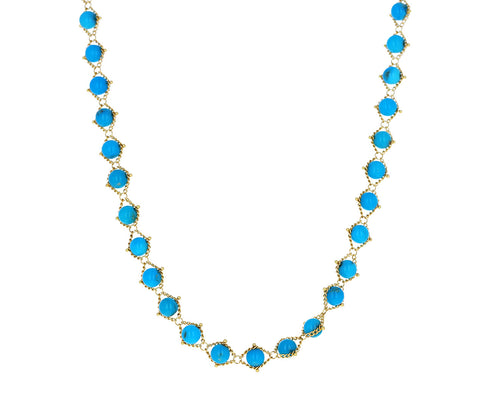 Short Turquoise Textile Necklace