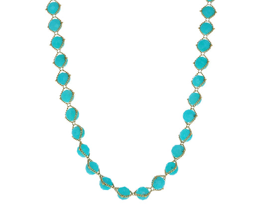 Short Large Amazonite Textile Necklace