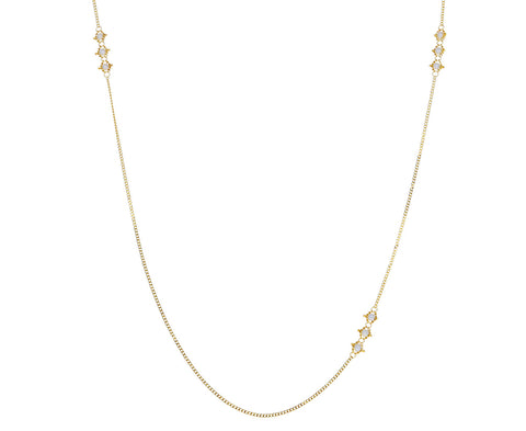 Pearl Triple Textile Station Necklace