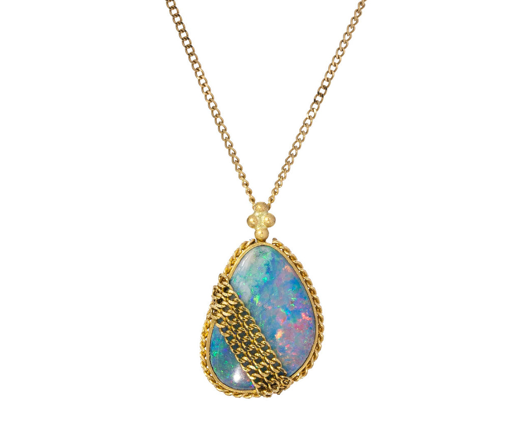 Opal Chain Pendant Necklace