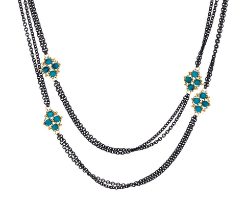 Turquoise Textile Station Double Chain Necklace