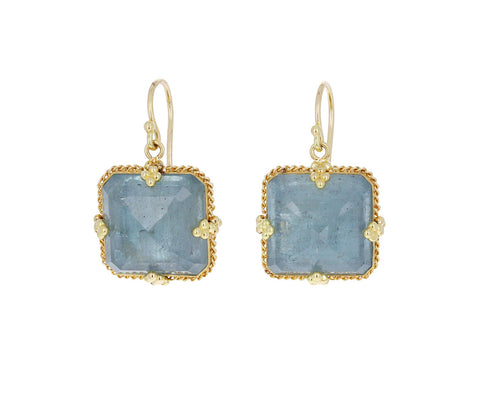 Square Aquamarine Earrings