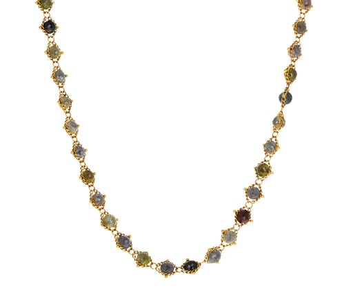 Champagne and Rustic Diamond Woven Necklace