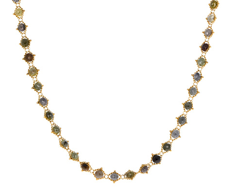 Short Rustic Diamond Woven Necklace