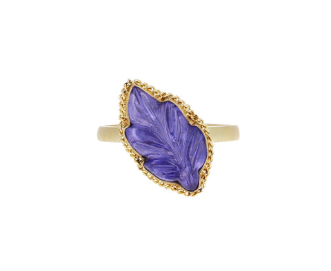 Carved Tanzanite Leaf Ring