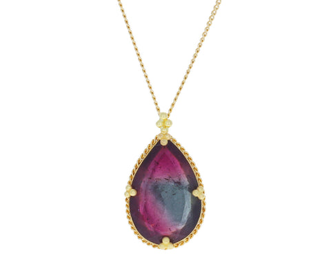 Rainbow Tourmaline Teardrop Necklace