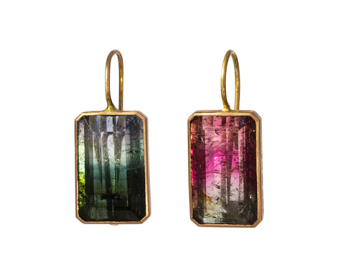 Polychrome Tourmaline Punta Coda Earrings