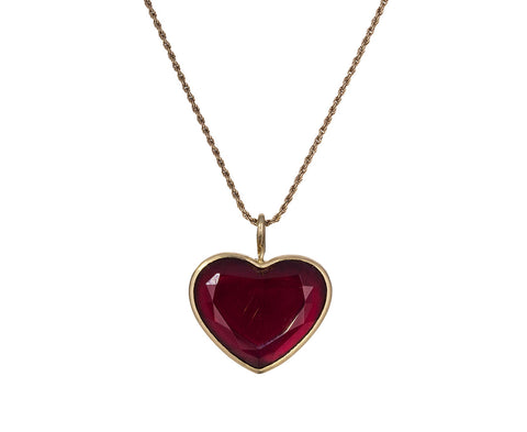 Red Tourmaline Cuore Pendant Necklace
