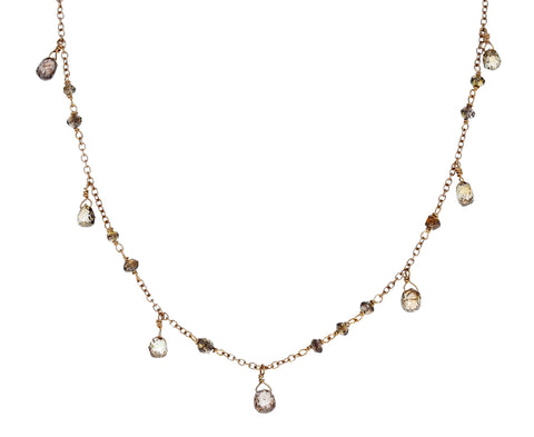 Champagne Diamond Waterfall Flea Necklace