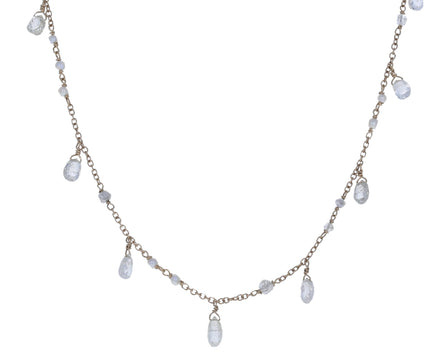 White Diamond and Pearl Waterfall Gancino Necklace