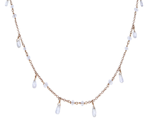 White Diamond Mixed Rosary Link Waterfall Necklace