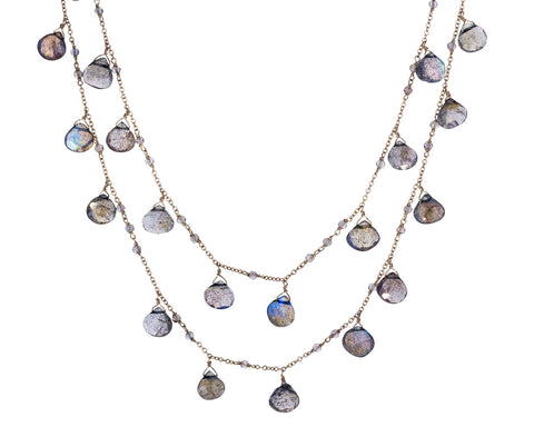 Gray Labradorite Waterfall Gancino Necklace - TWISTonline