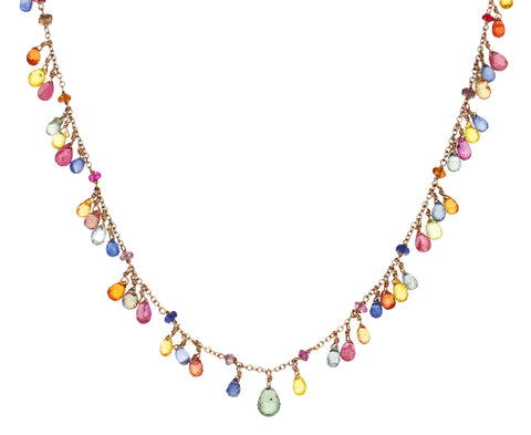 Multi Gem Micro Indian Waterfall Necklace