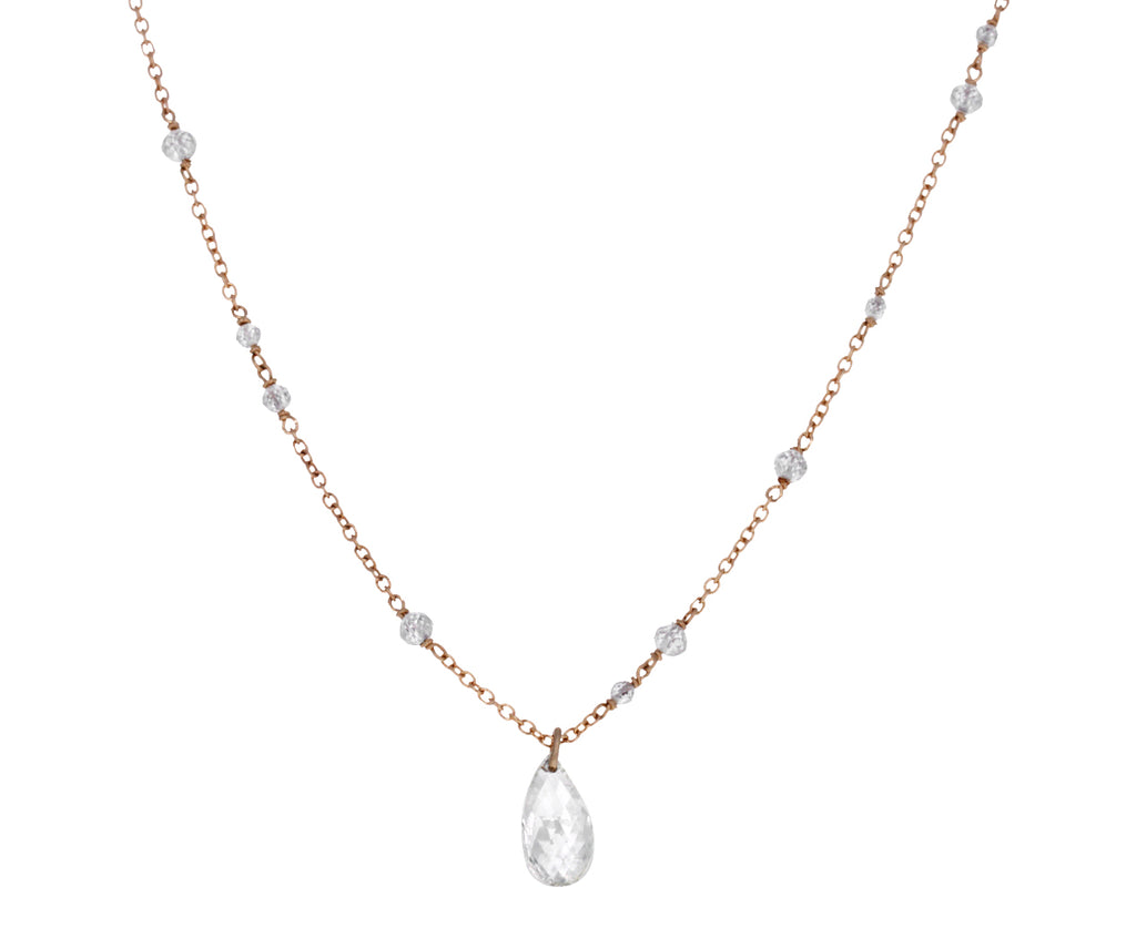White Diamond Glitter Drop Necklace