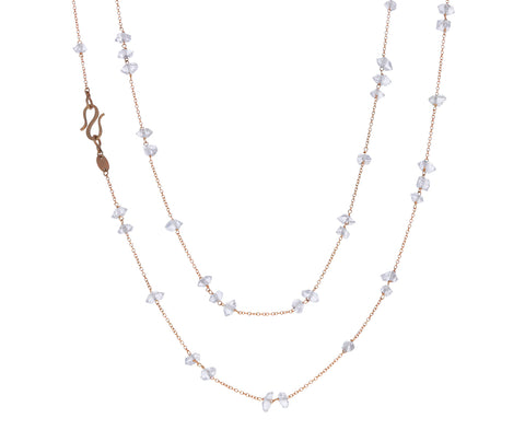 Herkimer Quartz Long Glitter Leah Necklace
