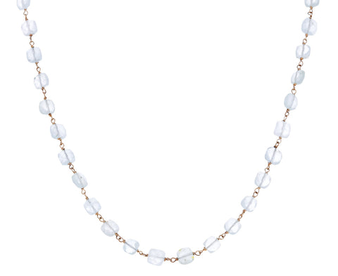 Square Aquamarine Rosary Gancino Necklace