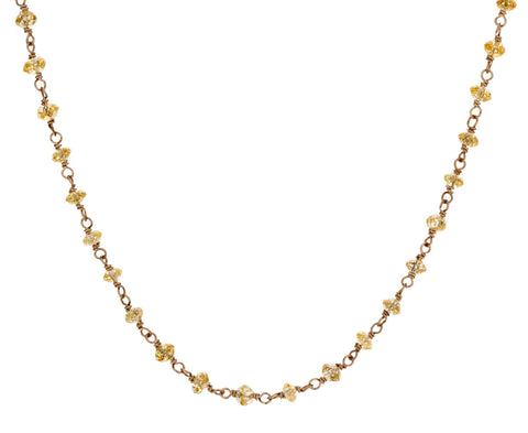 Yellow Diamond Rosary Gancino Necklace
