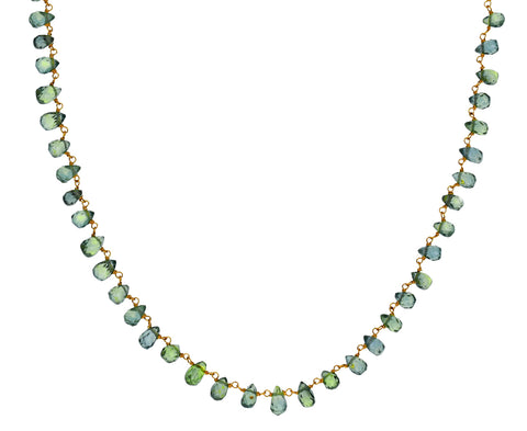 Green Sapphire Rosary Gancino Necklace