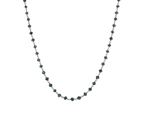 Peacock Blue Diamond Rosary Gancino Necklace