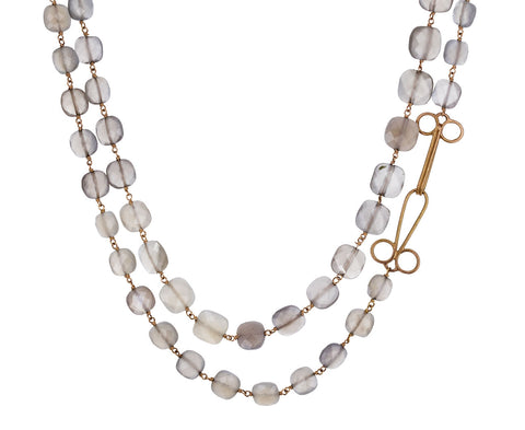 Gray Moonstone Rosary Gancino Necklace - TWISTonline