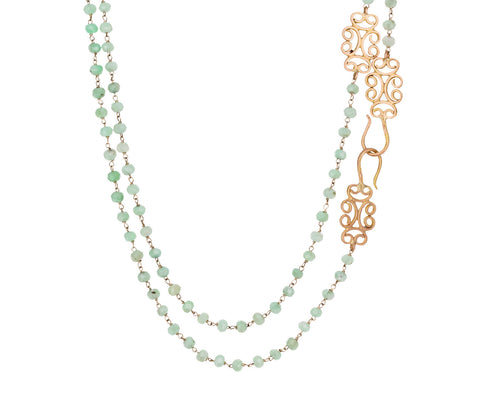 Chrysoprase Rosary Piscis Necklace