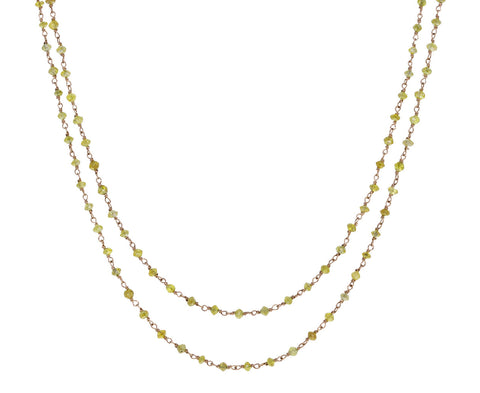 Champagne Diamond Rosary Flea Necklace