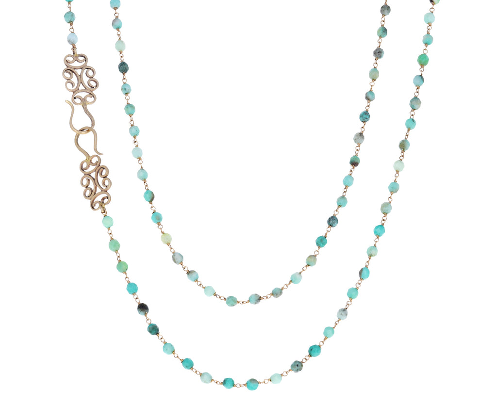 Green Opal Rosary Piscis Necklace