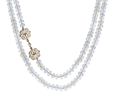 Moonstone Necklace with Diamond Clasp