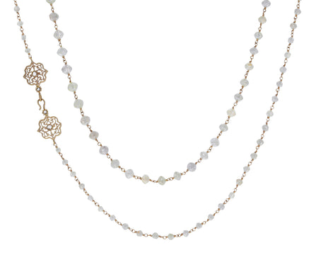 Light Gray Diamond Rosary Liam Micro Necklace