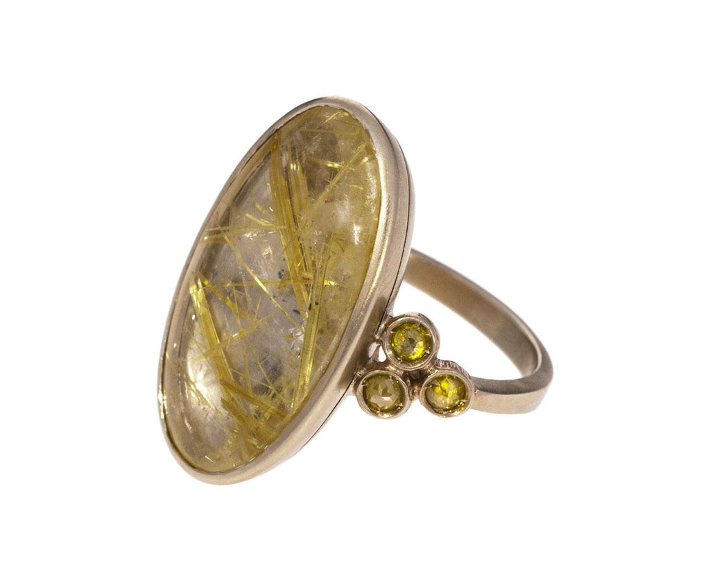 Rutilated Quartz and Diamond Beauty Simple Ring - TWISTonline