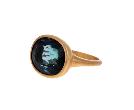 Blue Green Tourmaline Oblo Ring