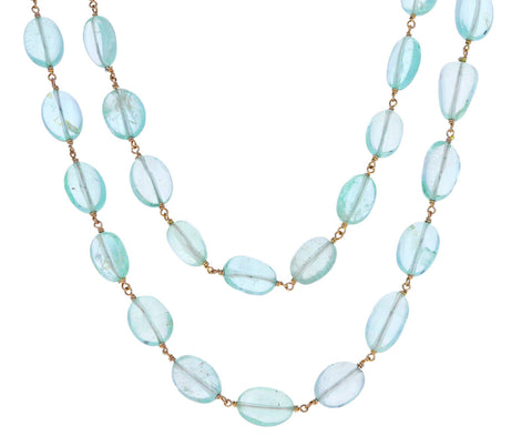 Aquamarine Rosary Paulette Necklace