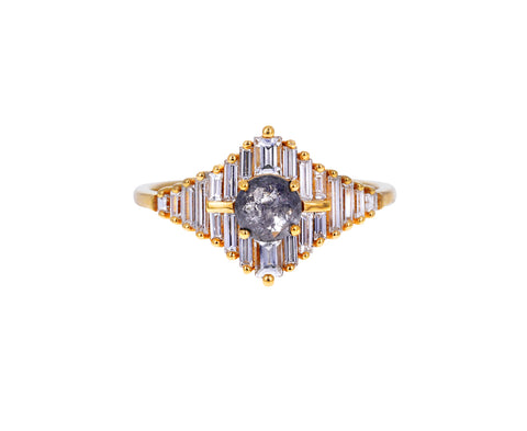 Gray Diamond and White Baguette Star Ring