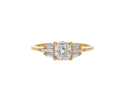Deco Cushion Cut Diamond Ring