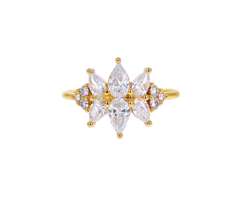 Flora Pear Diamond Cluster Ring