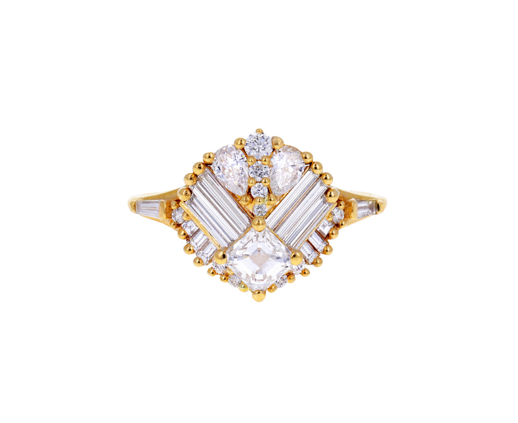 Asscher Cut Diamond Mirrored Cluster Ring