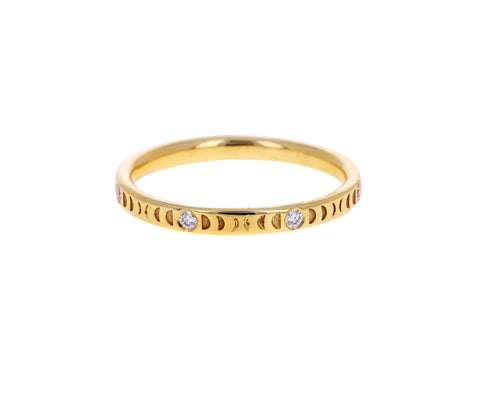 Diamond Moon Phase Wedding Band