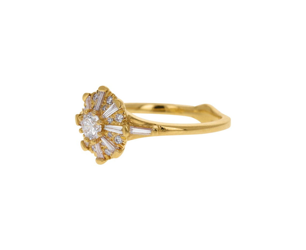 Tapered Baguette Diamond Swirl Ring