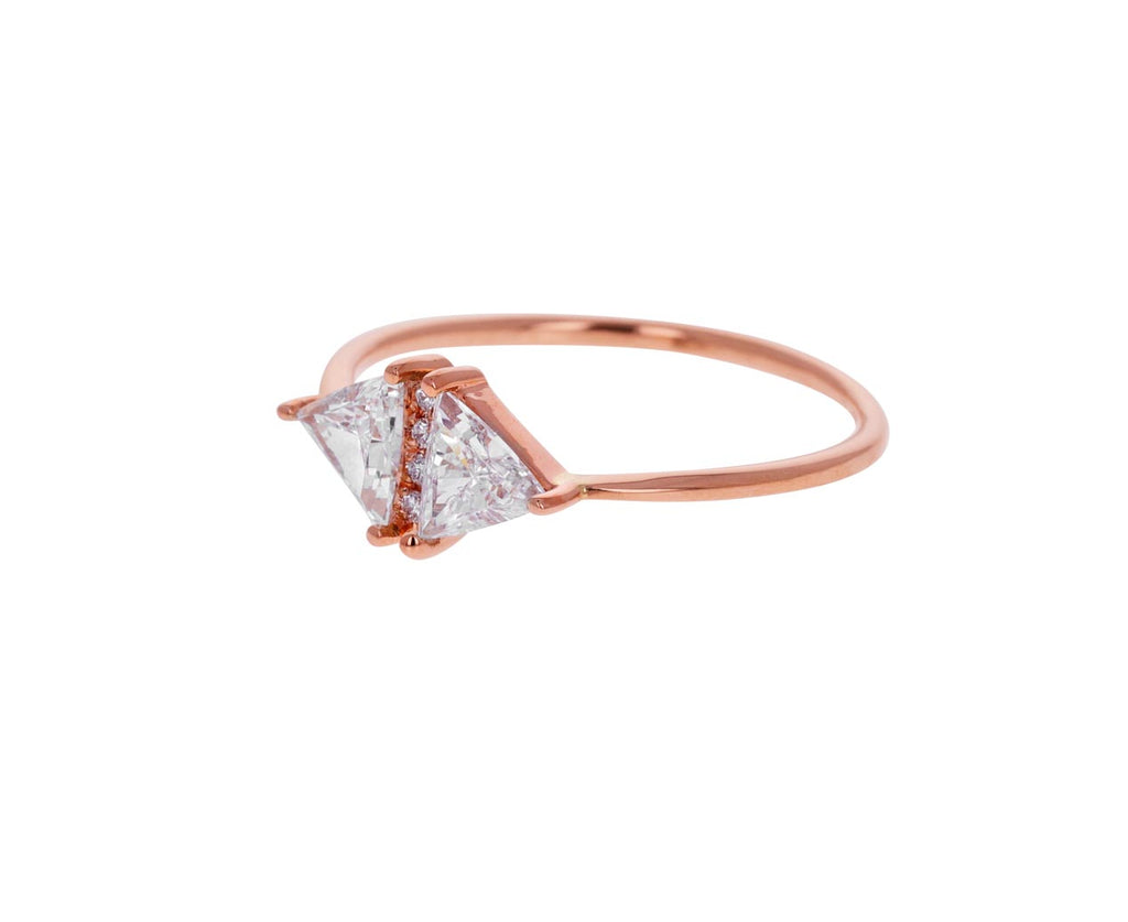 Rose Gold Vintage Diamond Triangle Ring