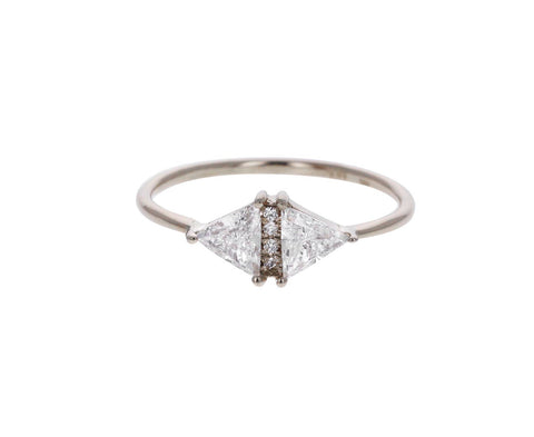 White Gold Vintage Diamond Triangle Ring