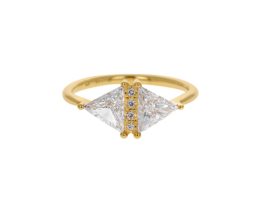 Large Vintage Diamond Triangle Ring