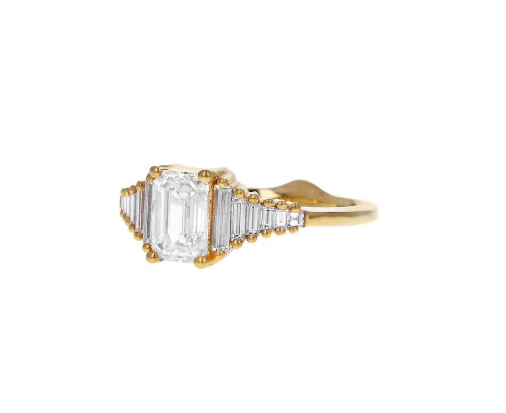 Emerald Cut with Tapered Needle Baguette Diamond Solitaire Ring