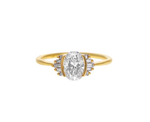 Oval Art Deco Baguette Diamond Solitaire Ring