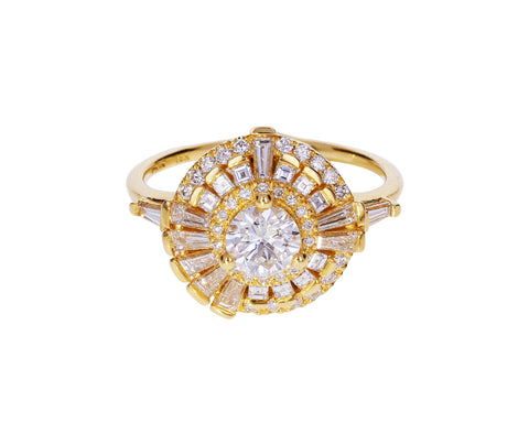 Diamond Step Ring with Asymmetric Halo - TWISTonline